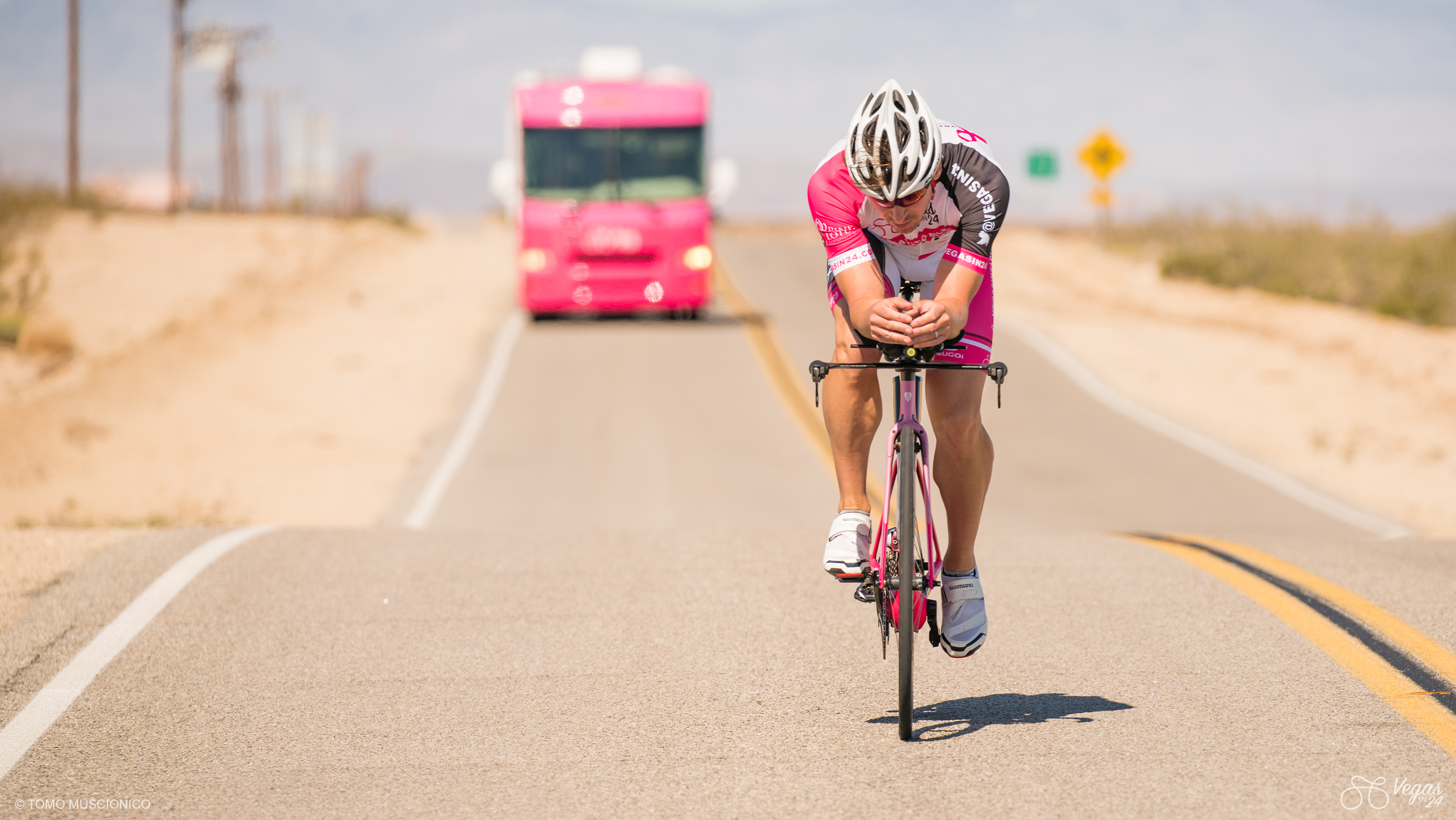 It isn't everyday that you see a pink bike and a pink RV roll through deserted valleys of sand and dust. Andy Funk is on an unstoppable pink mission.