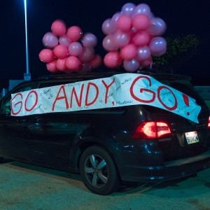 1am at Dockweiler Beach in Los Angeles. The van in the backdrop shows a Go Andy Go sign that Andy Funk's triplet boys designed for him earlier that day.