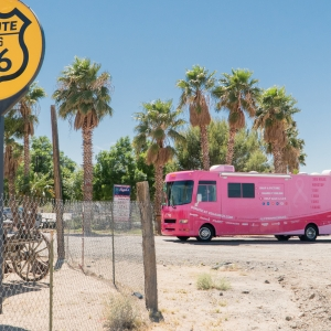 The Pink RV pulls into an oasis on Rte 66. Andy Funk has ridden 248 miles and climbed over 12K ft already. Some rest before he is crossing into Nevada.