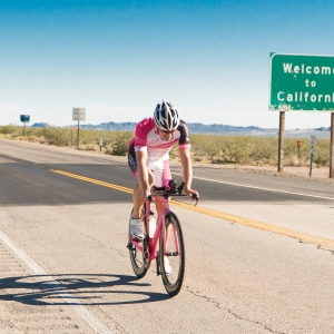 Andy Funk is crossing from California into Nevada after almost 16 hours of cycling. Reaching Nevada means Las Vegas is within reach and only 75 miles away.