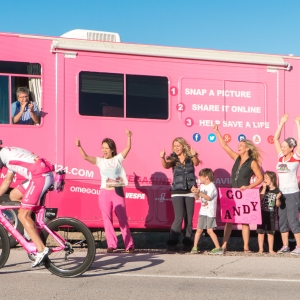 As Andy Funk continues on his 30-mile climb towards Searchlight, he is close to having cycled 300 miles. The Pink RV crowd is sending good energy his way.