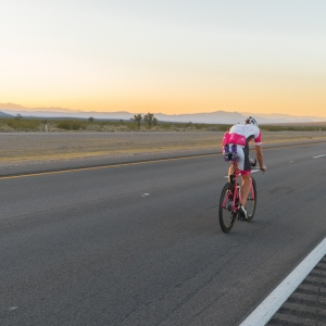 The temperatures are finally cooling down as Andy Funk rides towards his goal in the distance on a lonely highway. Las Vegas is less than 3 hours away.